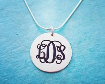 Silver Monogram Pendant / Monogram Necklace / Monogram on Tag / Custom Silver Monagram Necklace / Initial Necklace / My Name Necklace