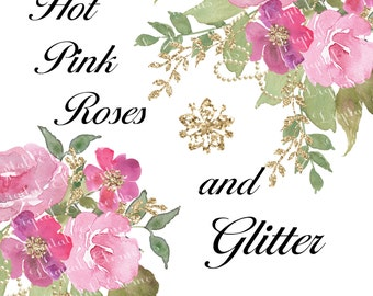 Watercolor Flower clipart, Floral Watercolor Clipart, Vintage Pink Rose Clipart, Glitter, Hand Painted Clipart and Bouquet. No. WC.14