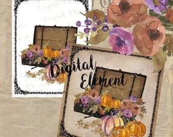 Watercolor Clipart, Digital Pumpkin Clip-art, Digital Fall Watercolor Floral, Digital Vintage Suite Case Clipart. No. WC13