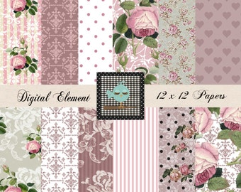 Digital Paper, Shabby Scrapbook Paper, Pink Digital Lace Paper, Digital Printable Paper, Shabby Wallpaper Digital. No. V 7 .08