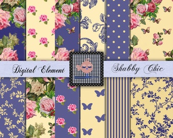 Digital Paper, Digital Scrapbook Paper, Shabby Yellow and Rose Paper, Shabby Chic Roses, Shabby Chic Digital Paper. No. P88.DA