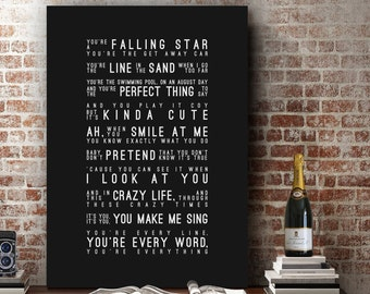 Michael Buble Everything Inspired Lyrics Music Wall Art Song Lyrics Home Decor Anniversary Gift Wedding Gift Typography Lyric PRINT