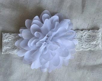 White Lace Flower Baby Headband