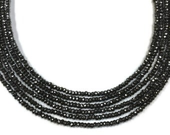 """15.5"""" Strand, Hematite Faceted Rondelles, 3mm size, AAA Quality"""