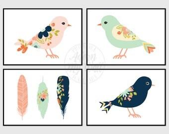 Birds printable, feathers, nursery wall art, tribal bird, bird print set, 5x7, set of 4, nursery decor, bird print, feather print
