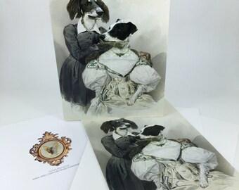 Single Greetings Card of an original artwork - Greyhound and Saluki in watercolours