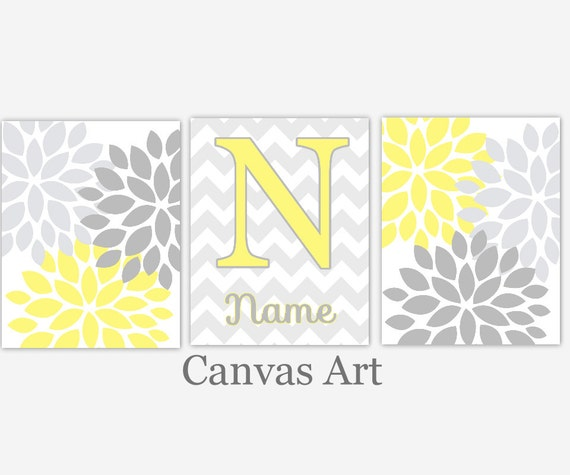 Wall Art Canvas Yellow : Baby girl nursery wall art canvas yellow gray grey flower