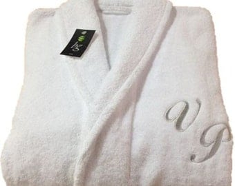 Personalized White Bathrobe Hotel Spa Edition Shawl Collar Silver Monogram