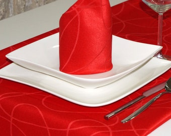 Luxury Red Table Runner - Anti Stain Proof Resistant - Pack of 2 units - Ref. Lines