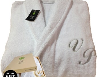 Personalized White Bathrobe Hotel Spa Edition Shawl Collar Silver Monogram