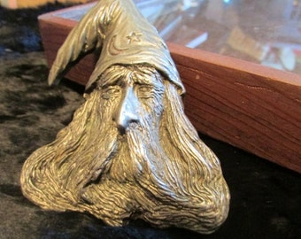 Vintage Brass Wizard Belt Buckle