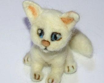 sweet Cat Kitten  needle felted miniature beautiful  animal toys nutka_art handmade