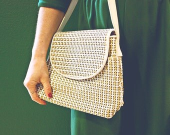 Vintage White and Gold Woven Simulated Leather Crossbody Handbag, 1980's Purse