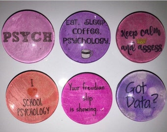 School Psychologist glass magnets, 1 inch (25mm) set of 6
