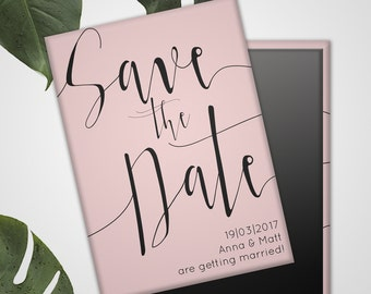 Save the Date Wedding Magnets - Rose Quartz or Serenity Blue Colour of the Year 2016