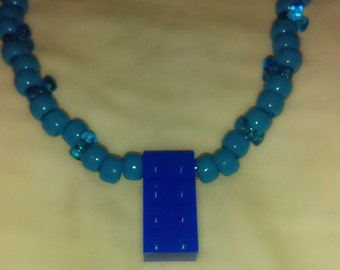 Blue lego necklace