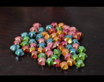 100 colorful folded origami stars
