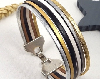 Bracelet leather gold and silver 6 bands clasp silver plated