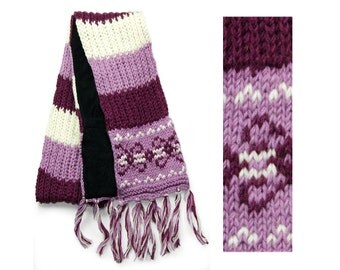 Wool Scarf, Hand Knit Wool Scarf, Winter Scarf - Plum Vintage Pattern - 2609U