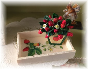 Decorative miniatures, strawberry flower arrangement and tray