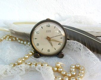 Vintage ~ German Alarm Clock ~ Cyma Amic ~ Brass ~ Travel alarm ~ Travel clock ~ Collectible