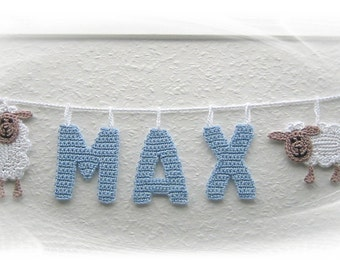 Garland for the nursery, crocheted sheep, present for the birth, baby's room decoration, badge, letter to hang