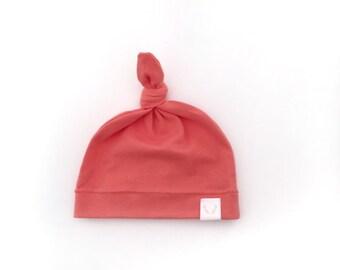 Organic Cotton Jersey Knott hat, Coral