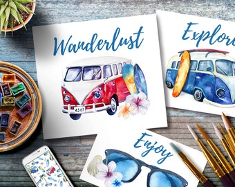 Digital print. Travel Inspired Art , Wanderlust, Set of watercolor VW bus Retro, Travel  painting, Travel Download, Road trip vehicle,