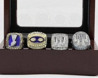 New York Giants Super Bowl Replica Ring Set (4) for years 1986 1990 2007 2011
