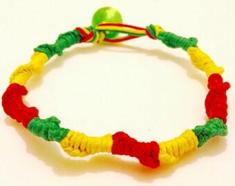 Rasta Bracelet - Rasta Macrame Bracelet - Red, Yellow, and Green Bracelet - Rasta Jewelry - Macrame Bracelet - Macrame Rasta Bracelet -Rasta