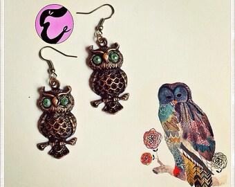 Horned owl earring/brass owl earring