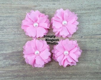 5 Small Pink Layered Fabric Flowers with Pearls, Headband Flowers, Wholesale Flowers, Flower Supply