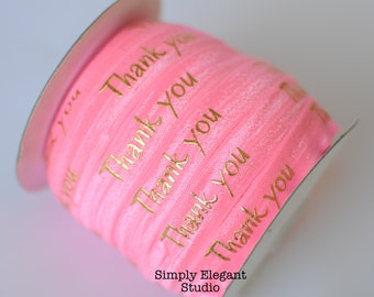 """Pink """"THANK YOU"""" Print Fold Over Elastic, 5/8"""" Elastic, Headband and Hair Tie Supply, Elastic by the Yard"""