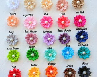 20 Assorted Small Satin Flowers with Pearl, Baby Headband Flowers, DIY Craft Flowers, Fabric Flowers
