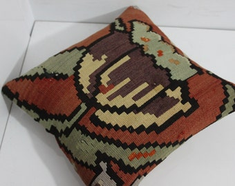 "Kilim Pillow Cover 16"" x 16"" Kilim Cushion Cover Caucasian Kilim Pillow"