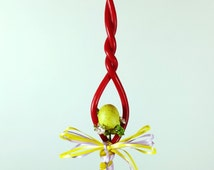 """12.5"""" Hand-twisted Red Easter Greek Candle Lambada with an Egg and a Crystal Cross with Ribbons"""