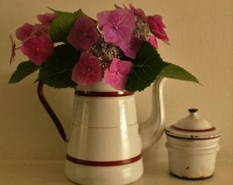 Vintage French Enamel Coffee Pot Banded in Red Ribbons and Gold Gilding