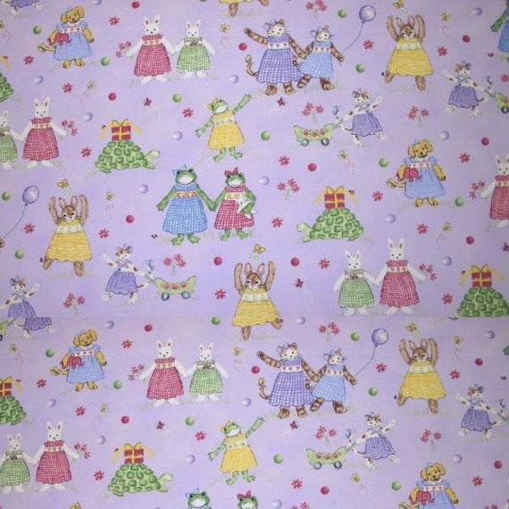 Petite playmate lavender fabric children nursery printed for Children s home decor fabric