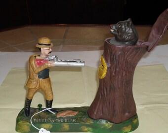 "Vintage ""Teddy and the Bear"" Cast Iron Coin Bank"