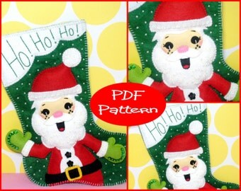 PDF Pattern - Felt Santa Christmas Stocking Pattern, Christmas Decoration, Sewing Pattern, Stocking Pattern, Stocking Template, Felt Santa,