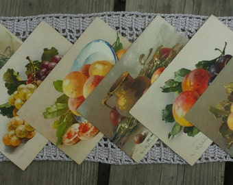 Lot 6 postcards with painted fruit vintage n3