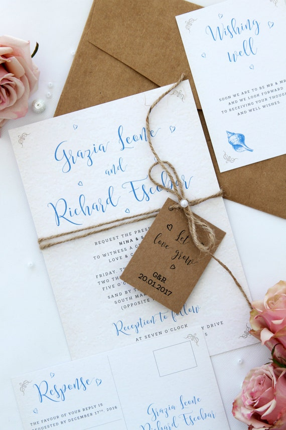 Rustic Beach Wedding Invitation Sets Twine And Pearls