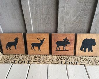 Woodland Animal Custom Wall Signs // nursery // nursery decor // bear decor // deer decor // moose decor // wolf decor