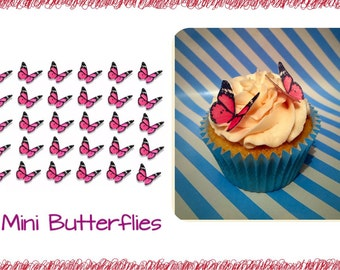 Pink Butterflies Cupcake Toppers x 30 on Edible Wafer Paper