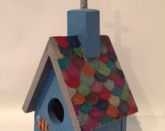 Mini Birdhouse Garden Stake (Medium) - Blue Gray with fishscale roof and angel fish