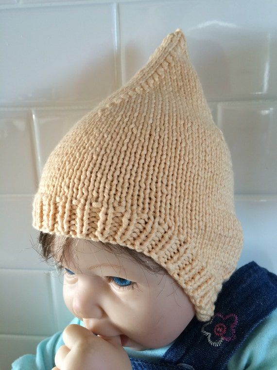 Coming home infant Pixie Hat and Matching Ruffle Booties Hand knit in neutral color sugar cane fiber Soft n Stretchy  Hand wash dry flat