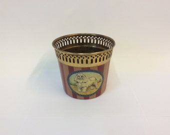 Vintage Hand Painted Tole Cachepot with Poodle