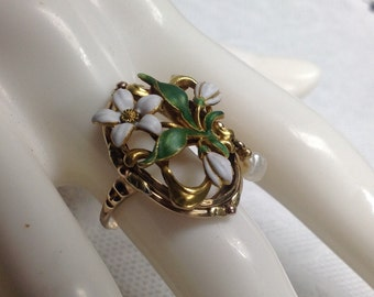 14k Enemal Art Nouveau Flower Pearl Ring
