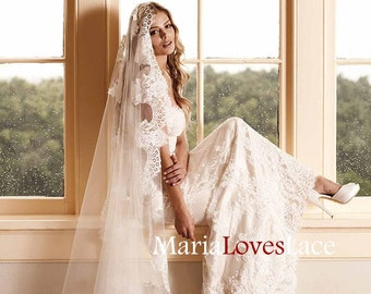 Mantilla Cathedral Lace Wedding Veil-Cathedral mantilla lace veil-1 tier Cathedral lace wedding veil 618