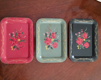 Vintage metal floral trays - set of three